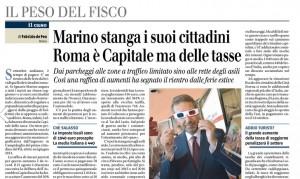 Marino stanga i suoi cittadini. Roma capitale delle tasse. Fabrizio de Feo, Il Giornale