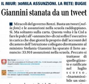 Stefania Giannini stanata da un tweet, Il Giornale