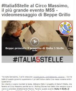 Beppe Grillo al Circo Massimo, come i Rolling Stones ma per 100 mila € non 8 mila