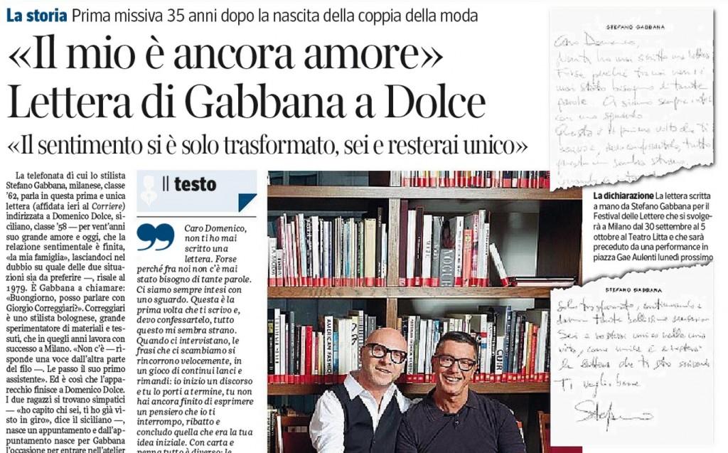 """Stefano Gabbana, la lettera a Domenico Dolce: """"Il mio è ancora amore..."""""""
