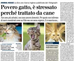 Povero gatto, è stressato perché trattato da cane. Oscar Grazioli, Il Giornale
