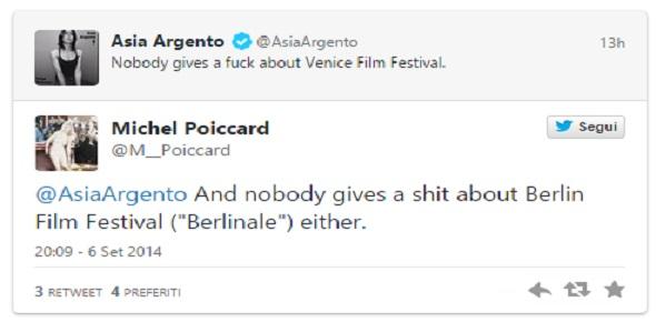 """Festival di Venezia. Asia Argento su Twitter: """"A nessuno frega un ..."""""""