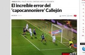 """Callejon si mangia gol a porta vuota. Giornali esteri: """"Ma come si fa?"""" VIDEO"""