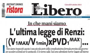 L'ultima legge di Renzi: [(V1MAX/V1min)xPVD1MAX]. Francesco Specchia, Libero