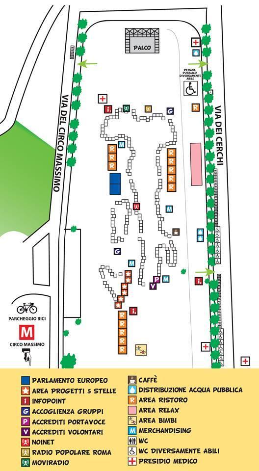 Italia 5 stelle al Circo Massimo, mappa dell'evento M5S a Roma
