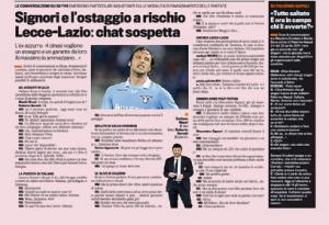 Calcioscommesse, Lecce-Lazio: Signori e l'ostaggio a rischio. Chat sospetta