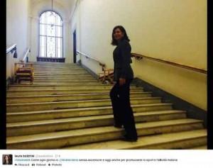 """Laura Boldrini fa """"sport"""" sulle scale della Camera e Gasparri la insulta FOTO"""