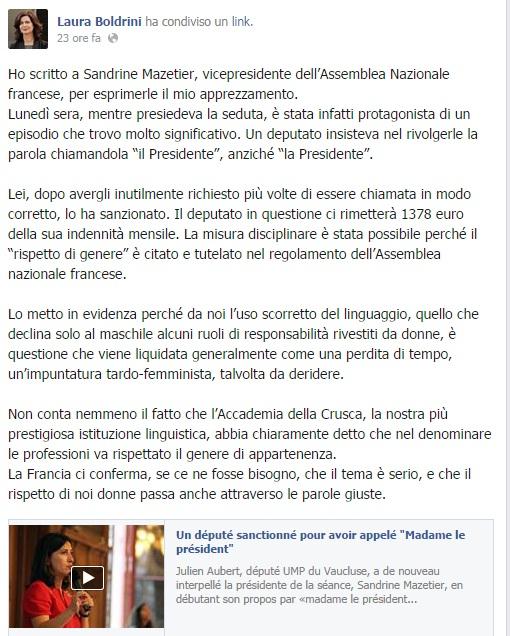 """Francia, chiama la presidente """"il presidente"""": deputato multato. Boldrini si congratula"""