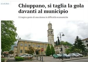 Chiuppano (Vicenza), serba si sgozza in piazza: problemi di soldi e lavoro