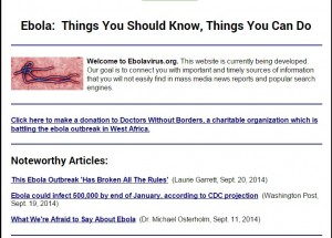 Lo screenshot della Home di Ebola.com