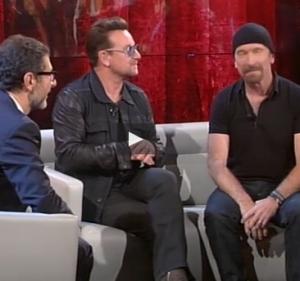 """Bono Vox a Fabio Fazio: """"Tu sei il mister Valium"""" VIDEO"""