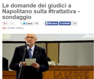 """Beppe Grillo: """"Napolitano tace coi giudici? E' colpevole"""". Sondaggio sul blog"""