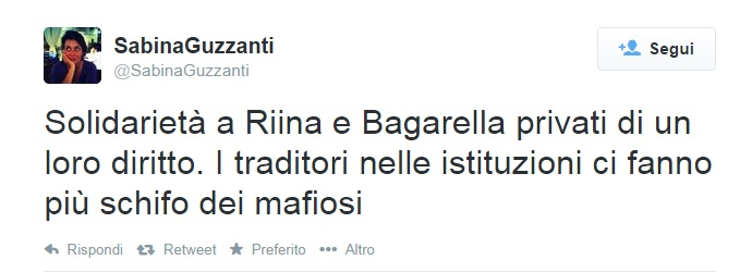 """Sabina Guzzanti: """"Solidarietà a Riina. Nei Palazzi più schifo della mafia"""""""