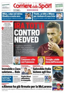 Ira Francesco Totti contro Pavel Nedved