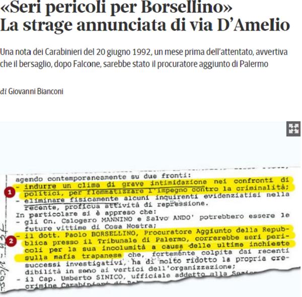 """""""Paolo Borsellino in serio pericolo di vita"""", allarme un mese prima della strage"""