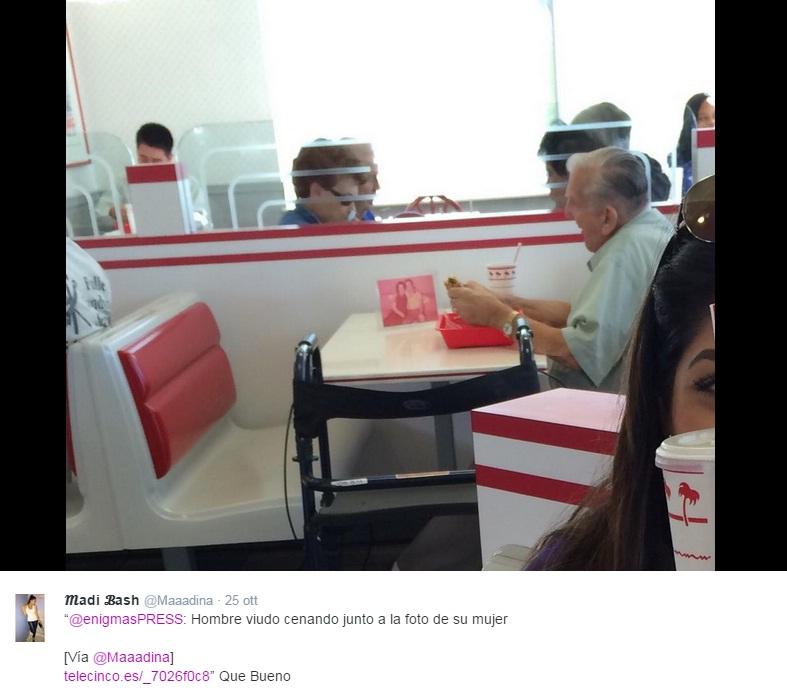 Twitter si commuove per il nonnino a cena solo con la foto della moglie