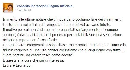 Leonardo Pieraccioni e Laura Torrisi, storia finita. L'annuncio su Facebook FOTO