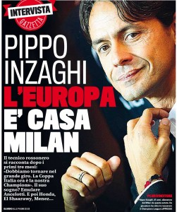 """Pippo Inzaghi alla Gazzetta: """"L'Europa è casa Milan"""""""