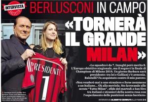 """Silvio Berlusconi: """"Tornerà grande Milan. Non venderò mai la società"""""""