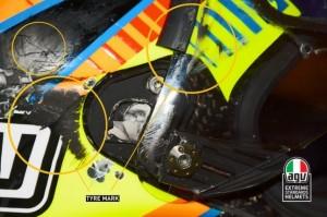 Valentino Rossi. Ecco il casco (FOTO) dopo incidente MotoGp Aragon