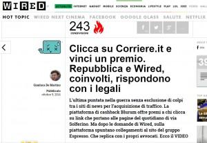 "Wired: Corriere.it gonfia i clic col ""cashback"" (clicca e vinci premio) Blurum"