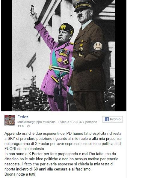 """Fedez al Pd: """"Chiedere la mia testa per idee politiche è fascismo"""""""