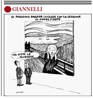 """""""Pagare le tasse con le opere d'arte"""", la vignetta di Giannelli"""