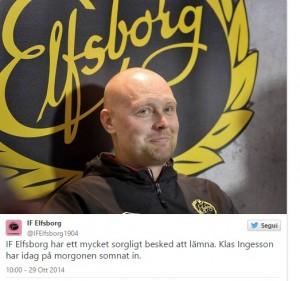 L'annuncio su Twitter della squadra svedese