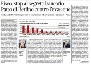 Fisco, stop al segreto bancario. Paolo Lepri, Corriere della Sera