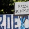 Il nome dell'ex Piazza Grandi eventi a Scampia, Napoli, diventata Piazza Ciro Esposito (foto Ansa)