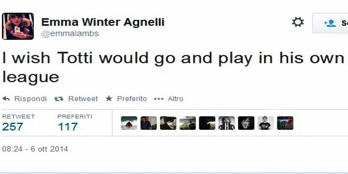 """Emma Winter, moglie di Andrea Agnelli: """"Vorrei che Totti se ne andasse nel suo campionato"""""""