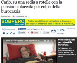 Carlo Cevasco, invalido, senza pensione per 5 mesi per colpa della burocrazia