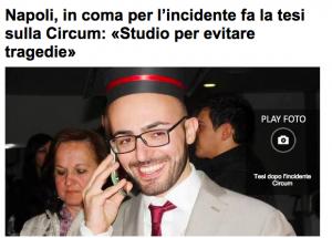 Vincenzo Scarpati, tesi sulla sicurezza dei treni: finì in coma per un incidente