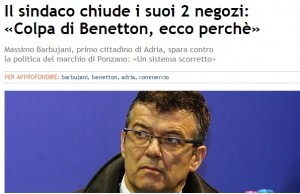 """Rovigo, il sindaco di Adria Barbujani chiude i suoi negozi: """"Colpa di Benetton"""""""