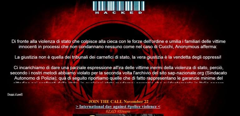 """Stefano Cucchi, Anonymous viola archivio Sap: """"Fascisti! Lo avete massacrato"""""""