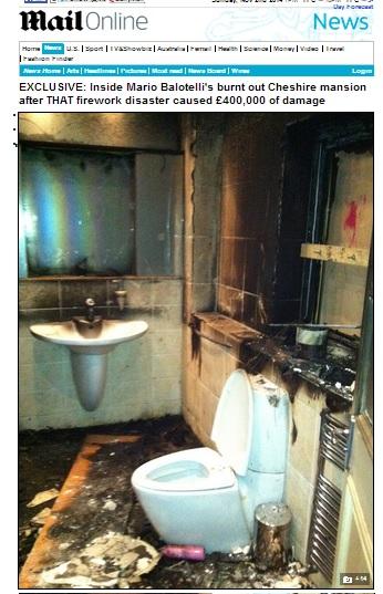 Mario Balotelli: foto della casa incendiata a Manchester