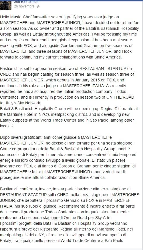 """Joe Bastianich lascia Masterchef Usa: """"Mi voglio concentrare sull'Italia"""""""
