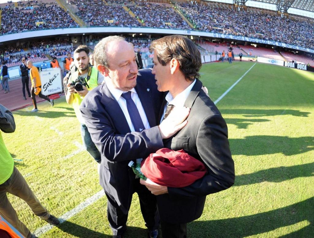 Napoli-Roma, via senza problemi: abbraccio Benitez-Garcia FOTO