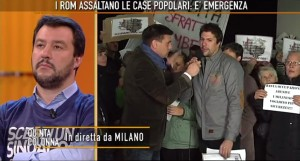 """Case Aler occupate Milano. Salvini litiga con ragazzo in tv: """"Vai a cag..."""""""