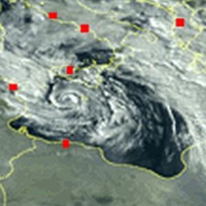 Le immagini satellitari del ciclone che ha colpito la Sicilia (foto Ansa)