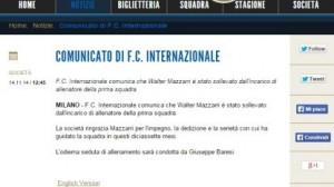 Ufficiale: Roberto Mancini nuovo allenatore Inter. Esonerato Mazzarri