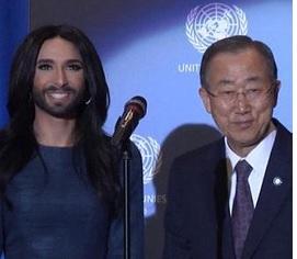Conchita Wurst, la drag-queen barbuta incontra Ban Ki-moon a Vienna