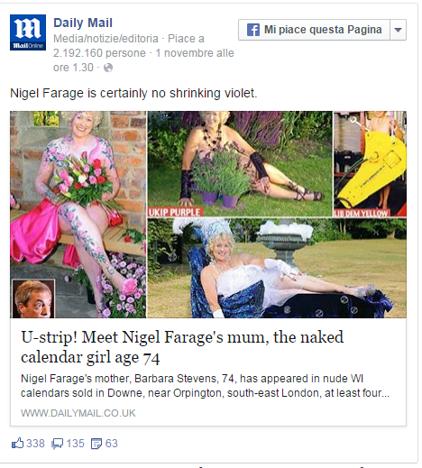 Nigel Farage, sua madre Barbara posa nuda a 74 anni a favore delle donne