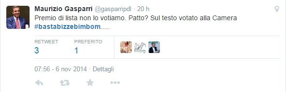 """Maurizio Gasparri tweet a Renzi: """"#Bastabizzebimbom..."""""""
