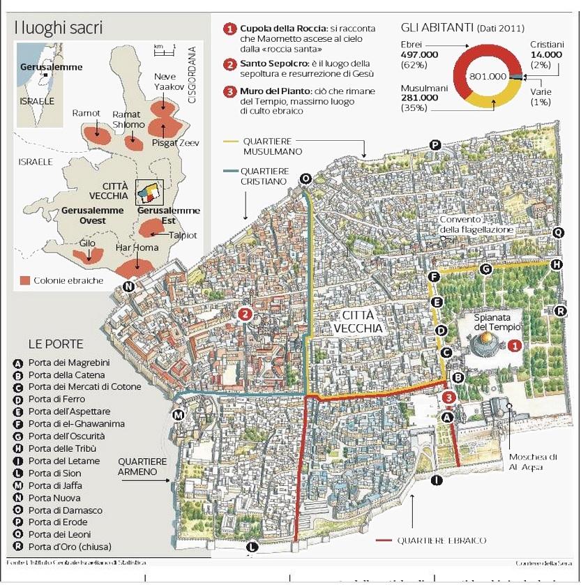 Mappa di gerusalemme tutti i luoghi simbolo della guerra for Pianta della foresta di pioppo