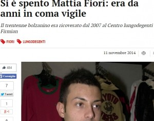 Mattia Fiori muore dopo 7 anni di coma. Ci finì per un antibiotico nel 2007