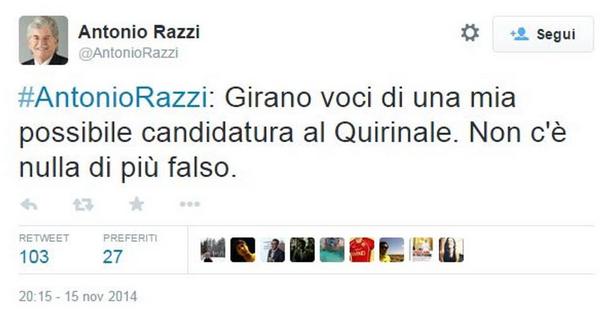 Antonio Razzi su Twitter: Voci di una mia possibile candidatura al Quirinale...