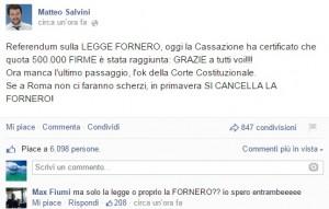"Pensioni, referendum anti Fornero. Salvini su Fb: ""Ok da Cassazione"" FOTO"