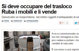Conegliano (Treviso): pagato per un trasloco, ruba mobili e li vende
