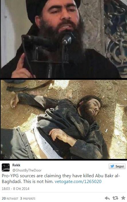 La foto del presunto cadavere di Al Baghdadi pubblicata su Twitter